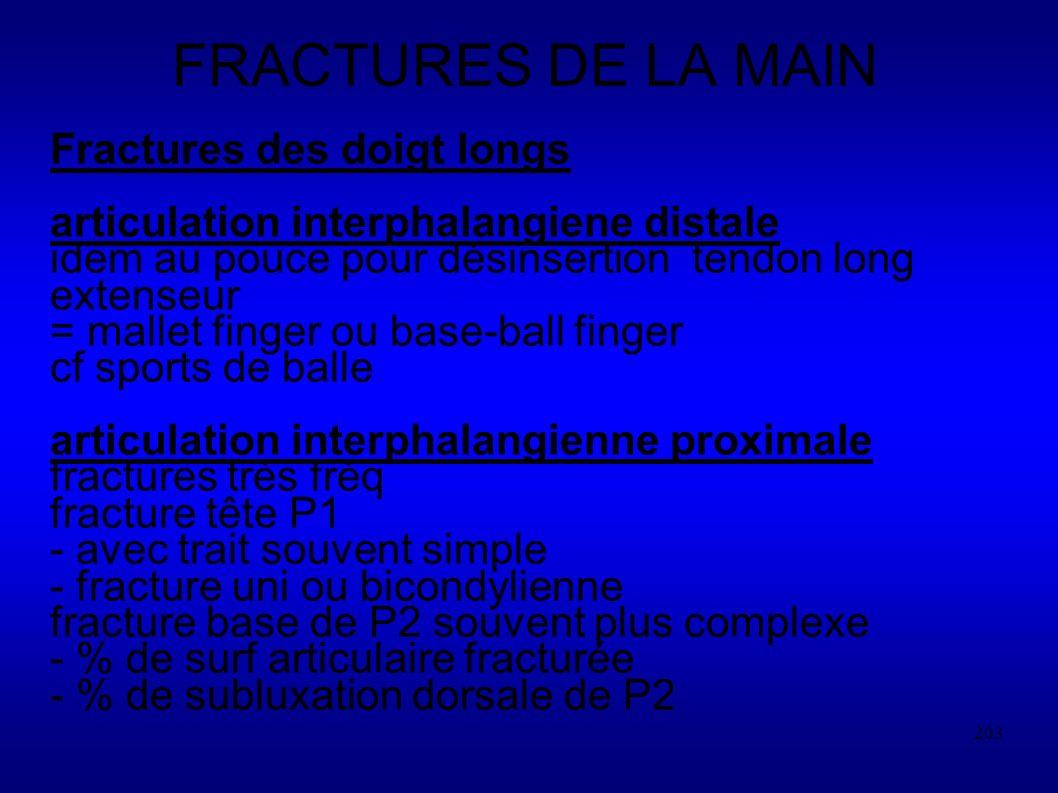 FRACTURES DE LA MAIN Fractures des doigt longs