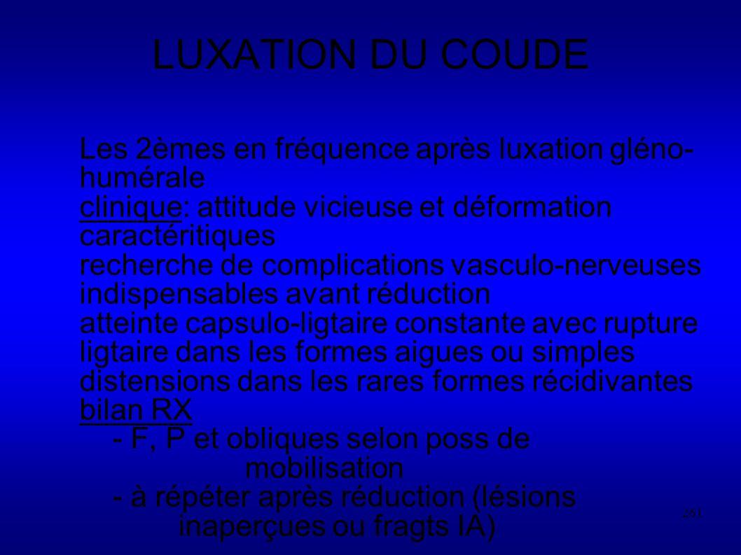LUXATION DU COUDE Les 2èmes en fréquence après luxation gléno-humérale