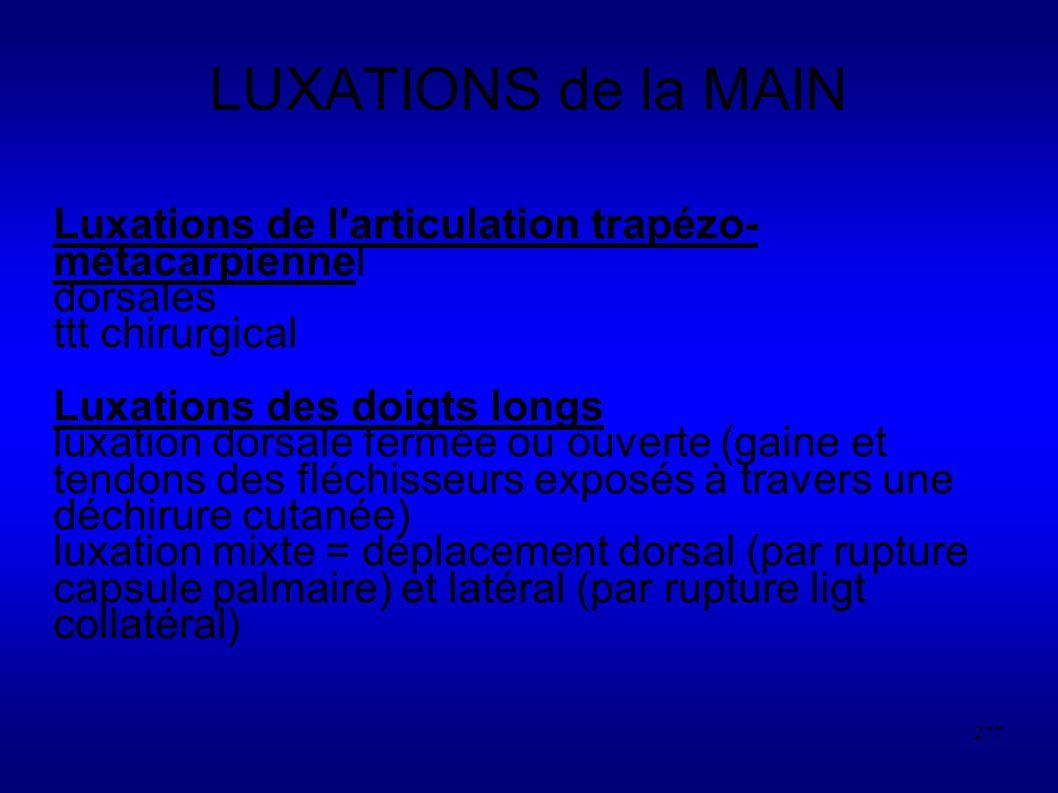 LUXATIONS de la MAIN Luxations de l articulation trapézo-métacarpiennel. dorsales. ttt chirurgical.