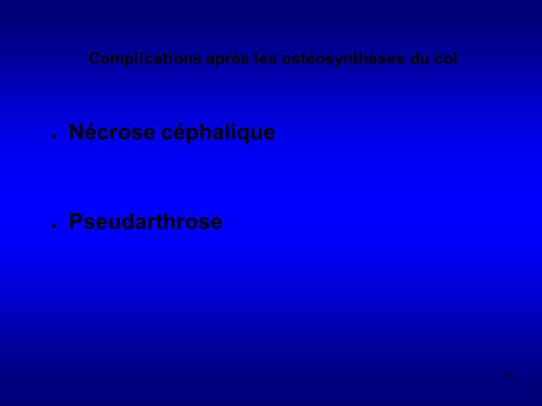 Complications après les ostéosynthèses du col
