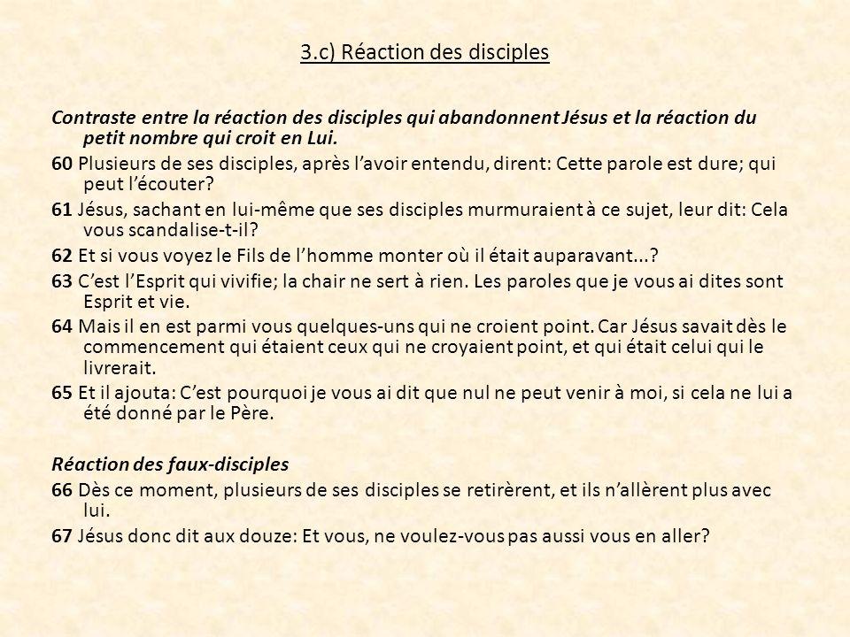 3.c) Réaction des disciples