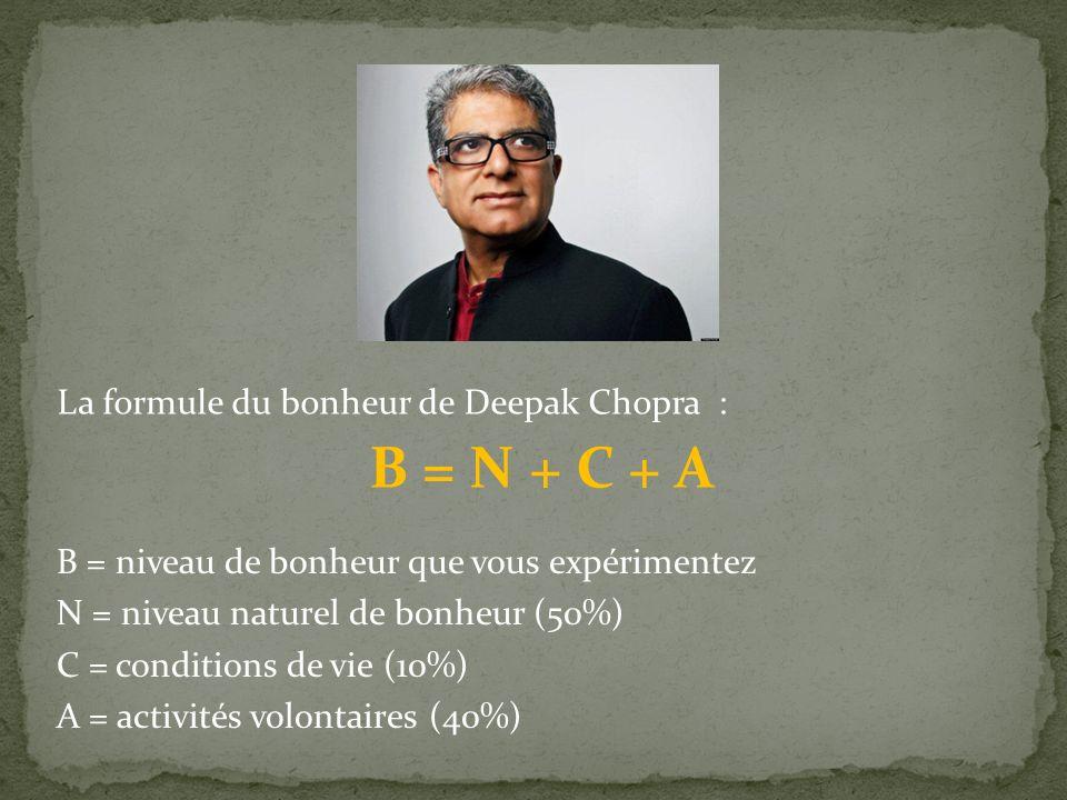 B = N + C + A La formule du bonheur de Deepak Chopra :