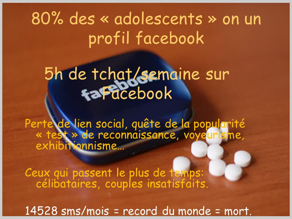 80% des « adolescents » on un profil facebook