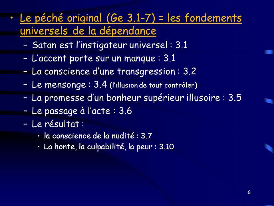 Le péché original (Ge 3.1-7) = les fondements universels de la dépendance