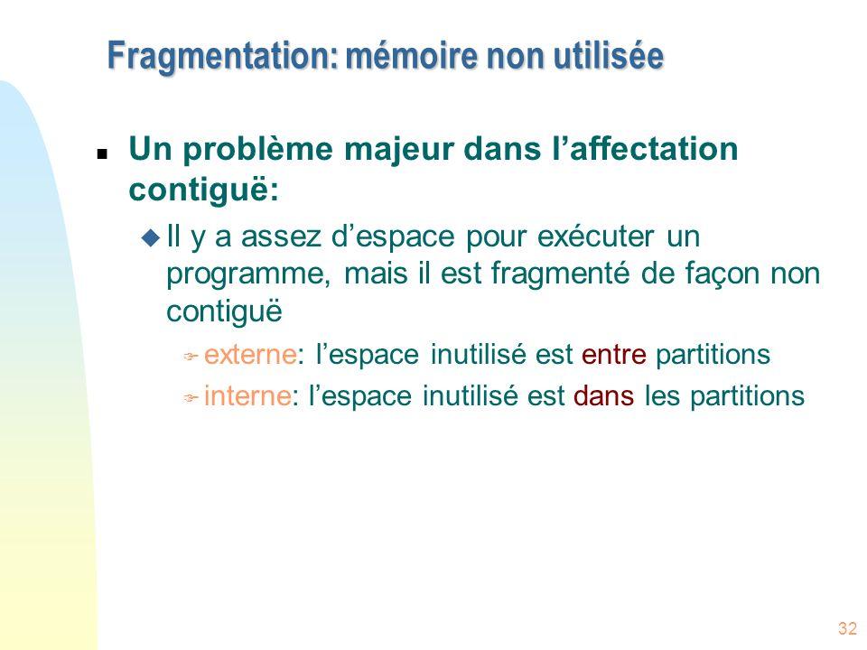 Fragmentation: mémoire non utilisée