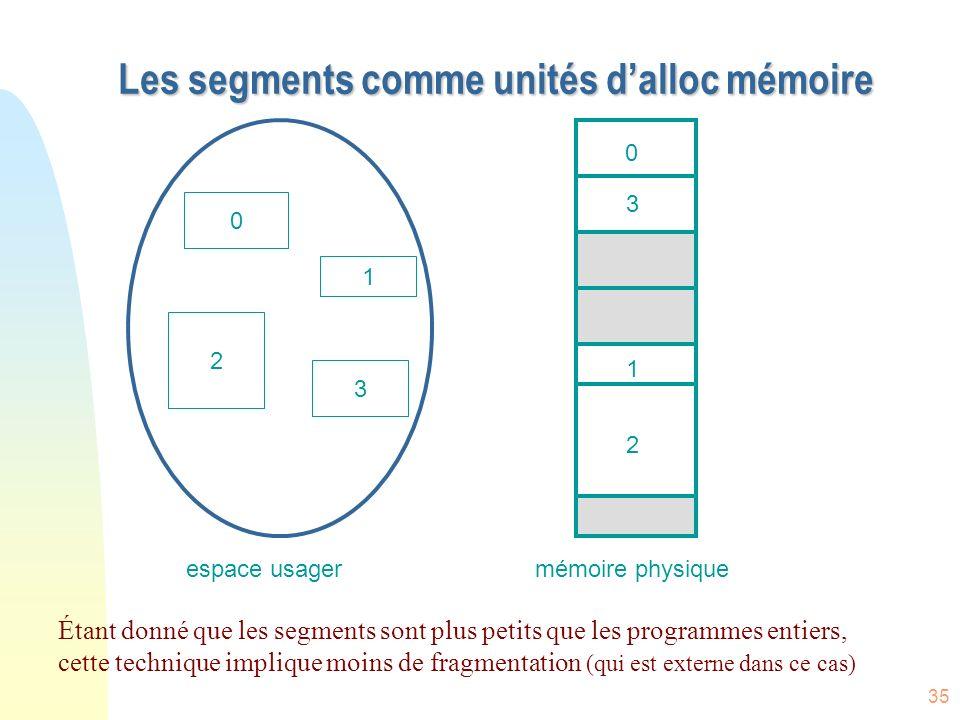 Les segments comme unités d'alloc mémoire