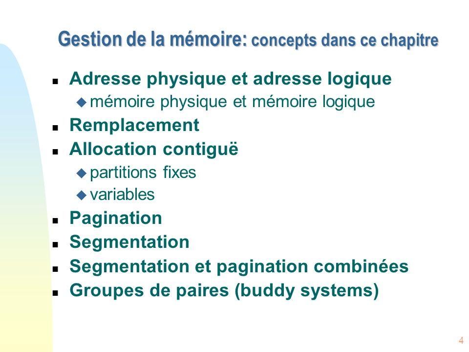 Gestion de la mémoire: concepts dans ce chapitre