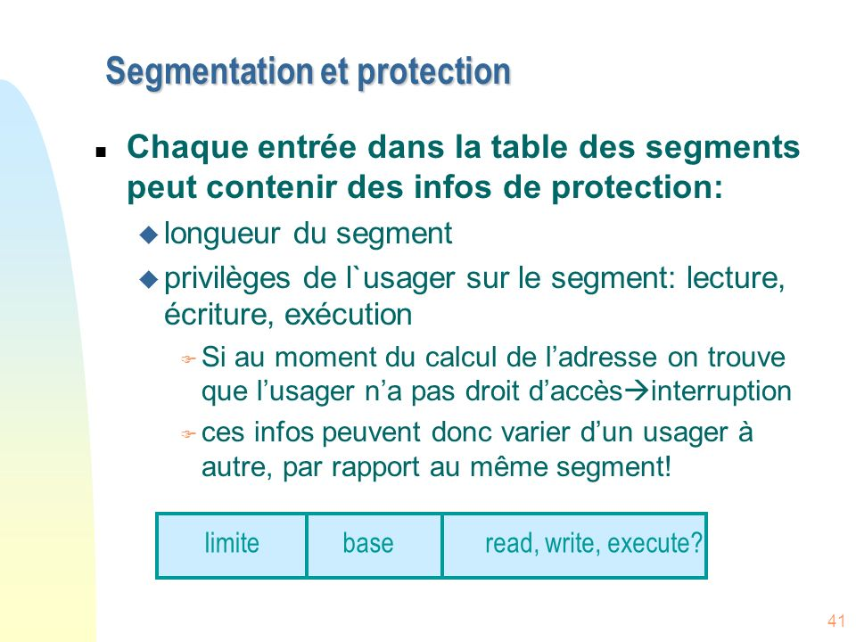 Segmentation et protection