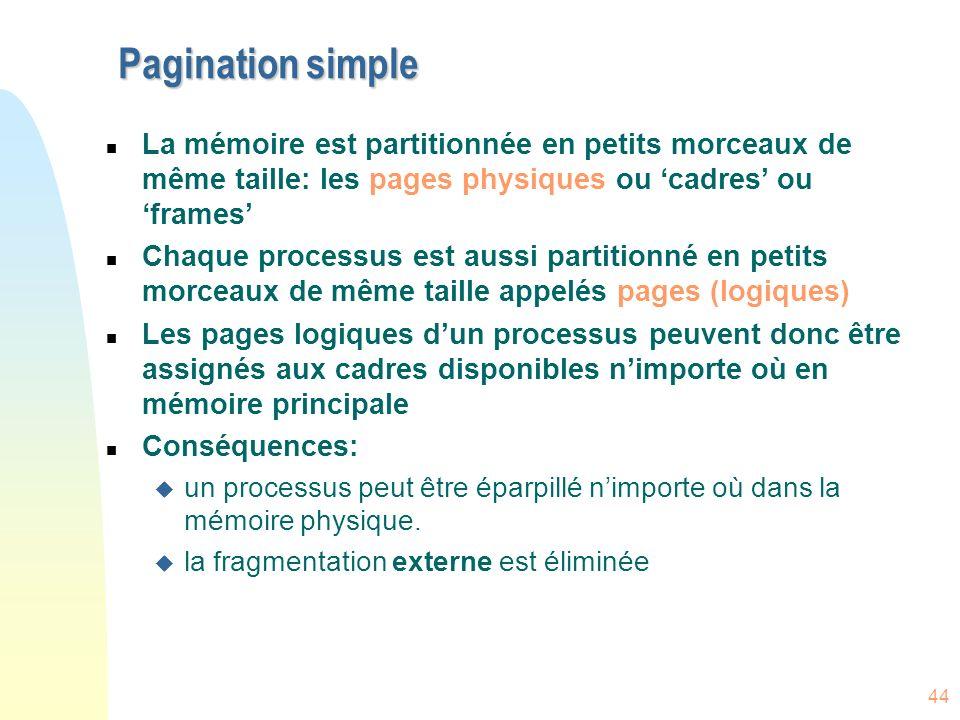 Pagination simple La mémoire est partitionnée en petits morceaux de même taille: les pages physiques ou 'cadres' ou 'frames'