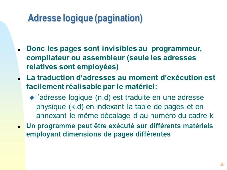 Adresse logique (pagination)