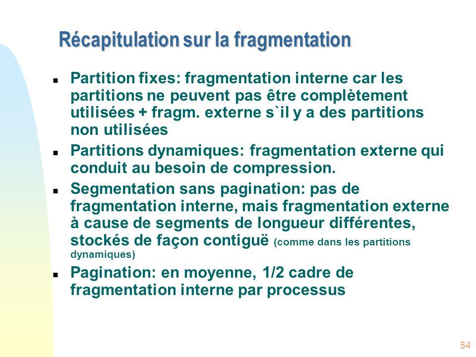Récapitulation sur la fragmentation