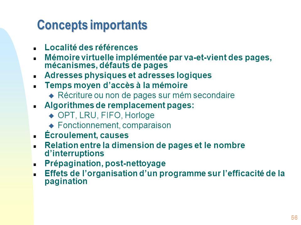 Concepts importants Localité des références