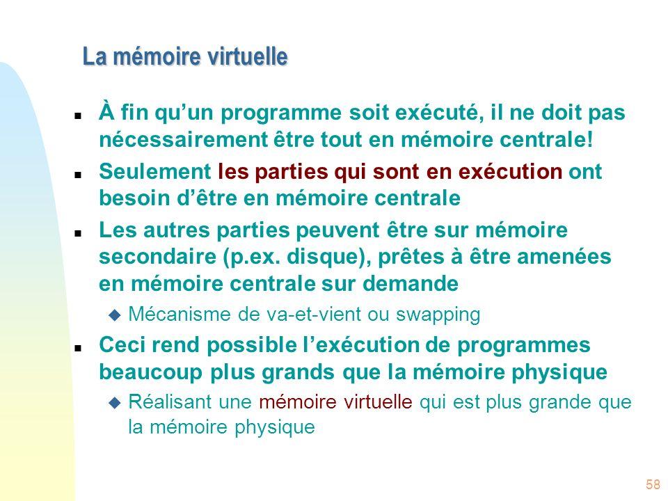 La mémoire virtuelle À fin qu'un programme soit exécuté, il ne doit pas nécessairement être tout en mémoire centrale!