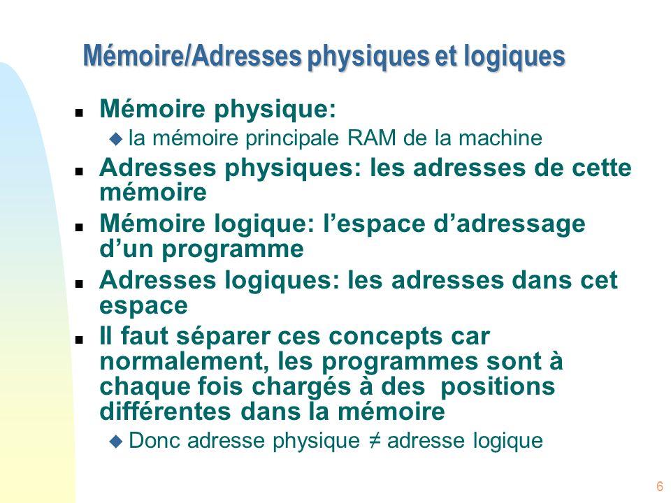 Mémoire/Adresses physiques et logiques
