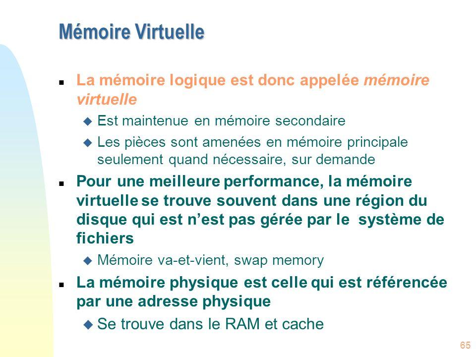 Mémoire Virtuelle La mémoire logique est donc appelée mémoire virtuelle. Est maintenue en mémoire secondaire.