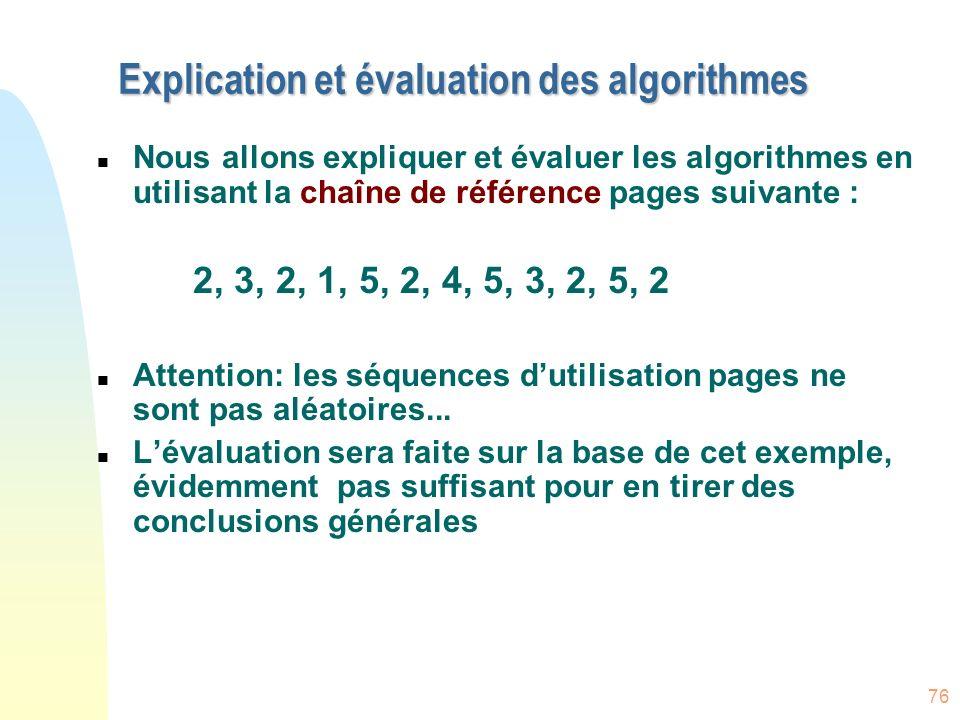 Explication et évaluation des algorithmes