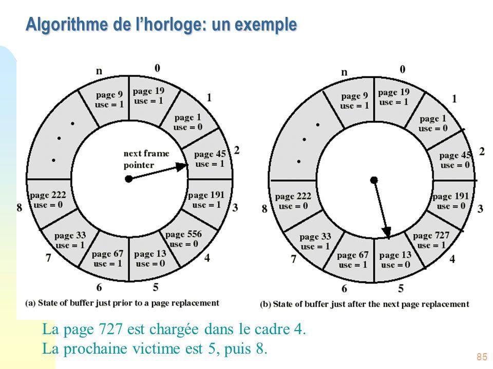 Algorithme de l'horloge: un exemple