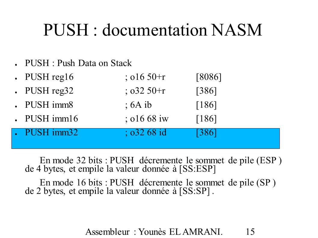 PUSH : documentation NASM