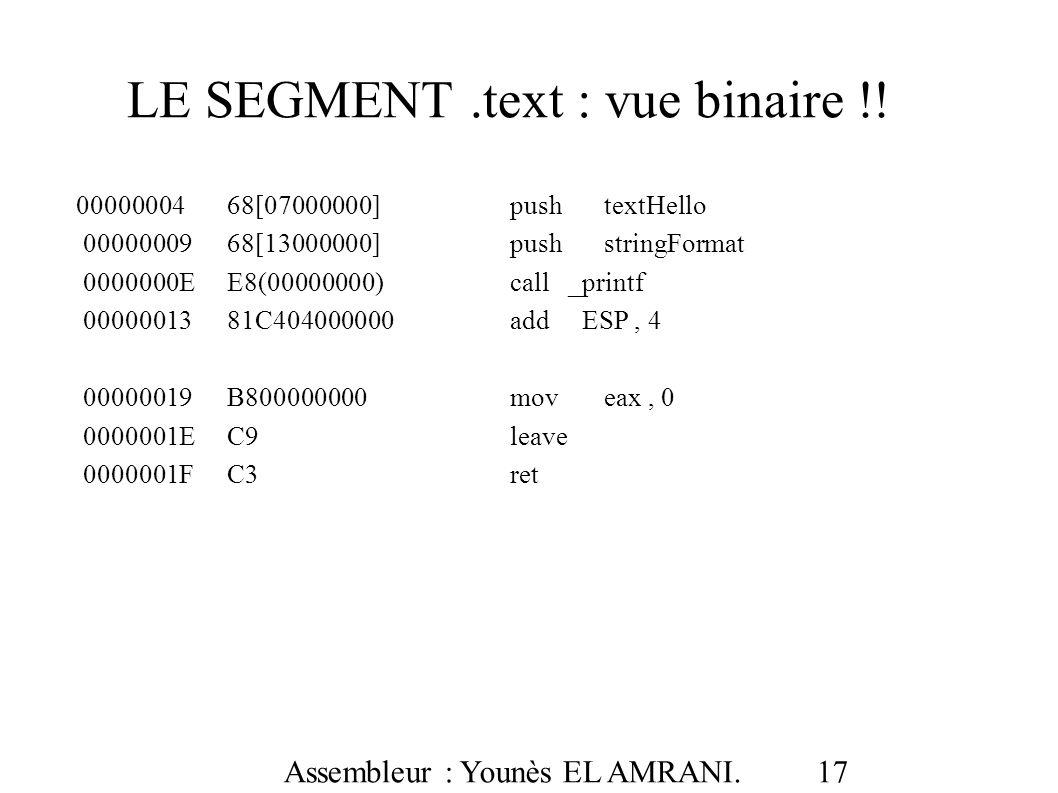 LE SEGMENT .text : vue binaire !!