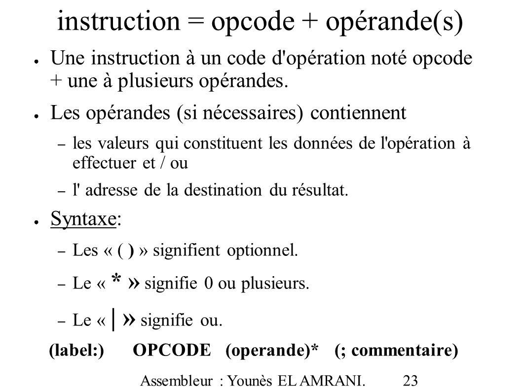 instruction = opcode + opérande(s)