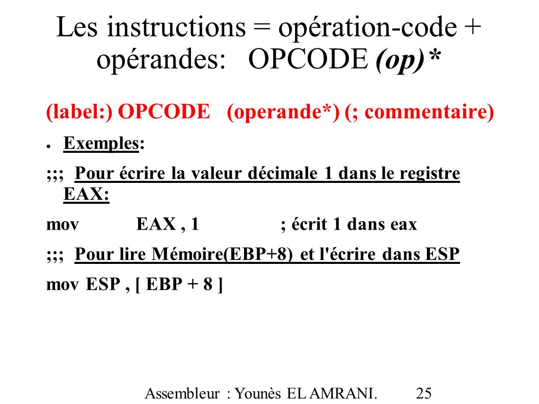 Les instructions = opération-code + opérandes: OPCODE (op)*
