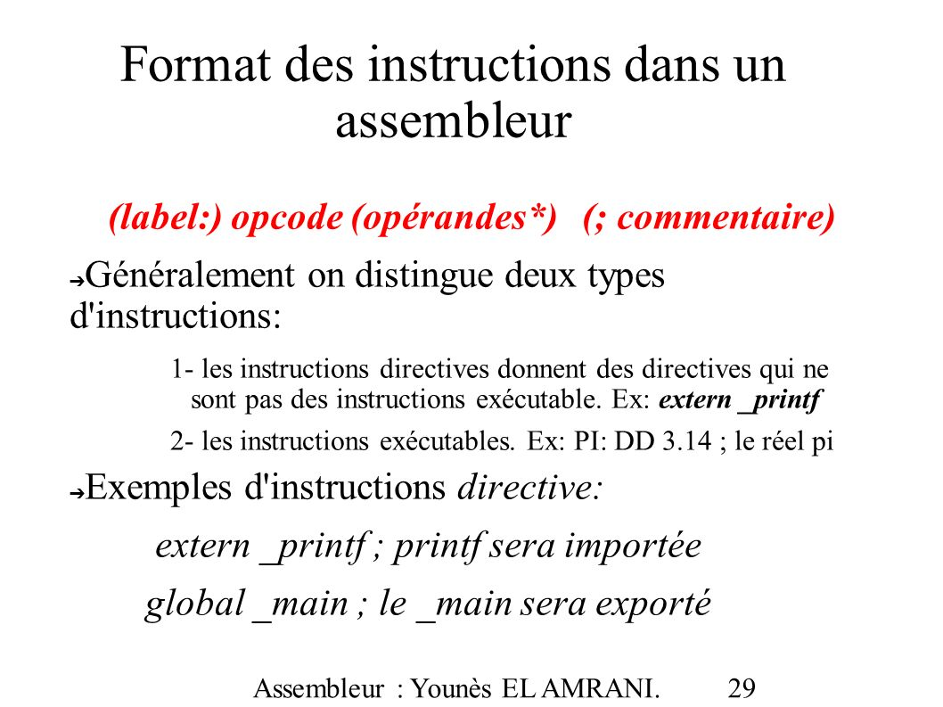 Format des instructions dans un assembleur