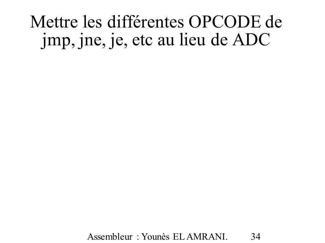 Mettre les différentes OPCODE de jmp, jne, je, etc au lieu de ADC