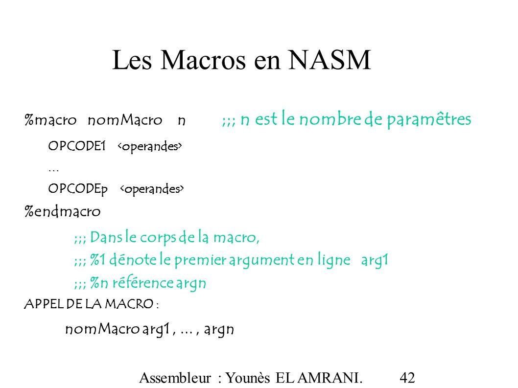 Les Macros en NASM %macro nomMacro n ;;; n est le nombre de paramêtres