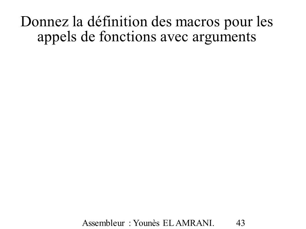 Donnez la définition des macros pour les appels de fonctions avec arguments