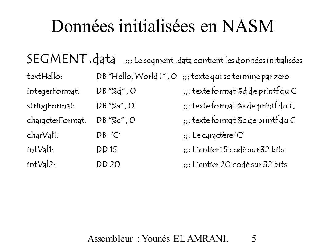 Données initialisées en NASM