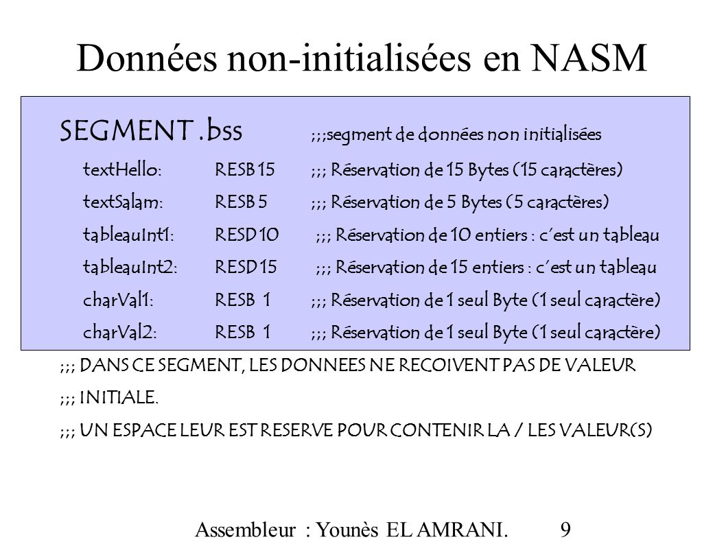 Données non-initialisées en NASM