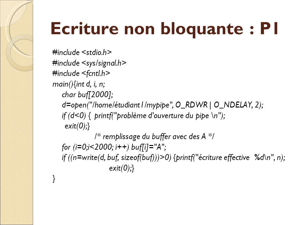 Ecriture non bloquante : P1