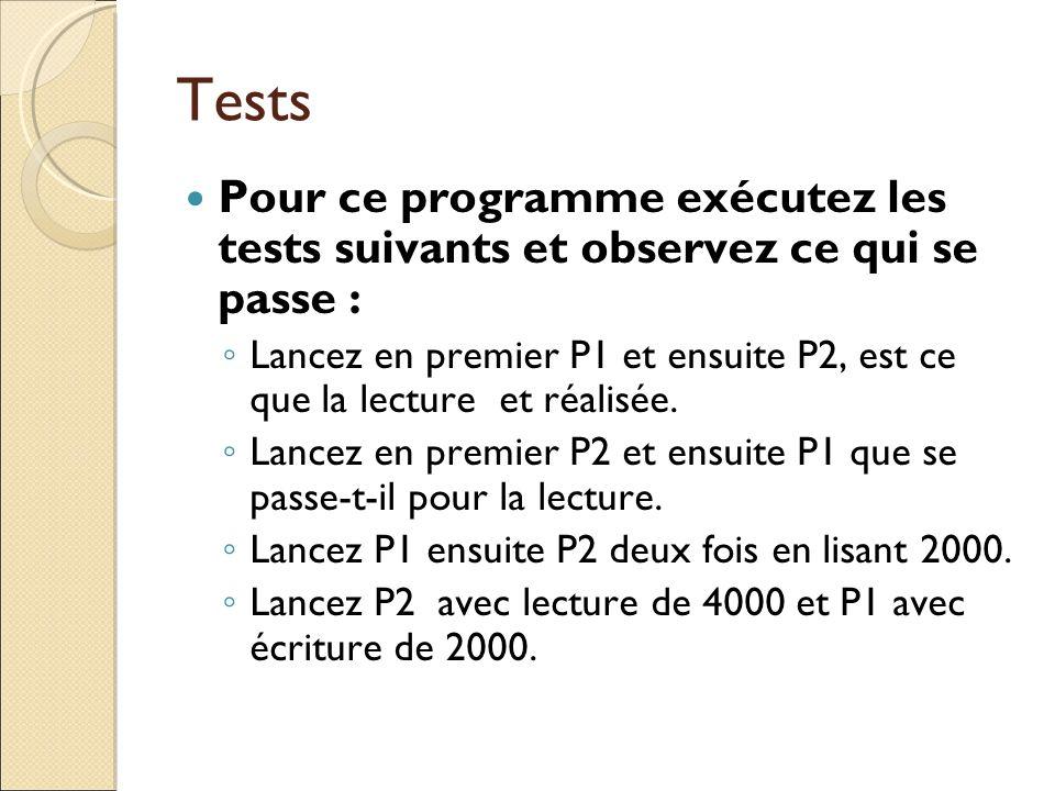 Tests Pour ce programme exécutez les tests suivants et observez ce qui se passe :