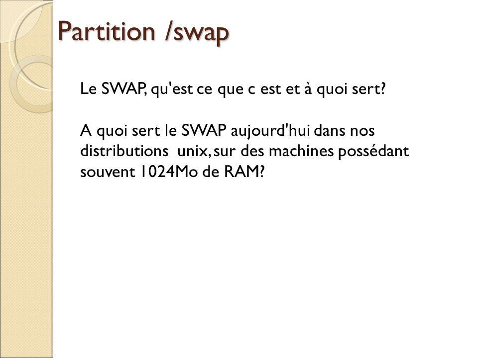 Partition /swap Le SWAP, qu est ce que c est et à quoi sert