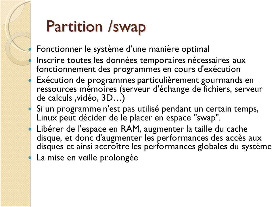 Partition /swap Fonctionner le système d'une manière optimal