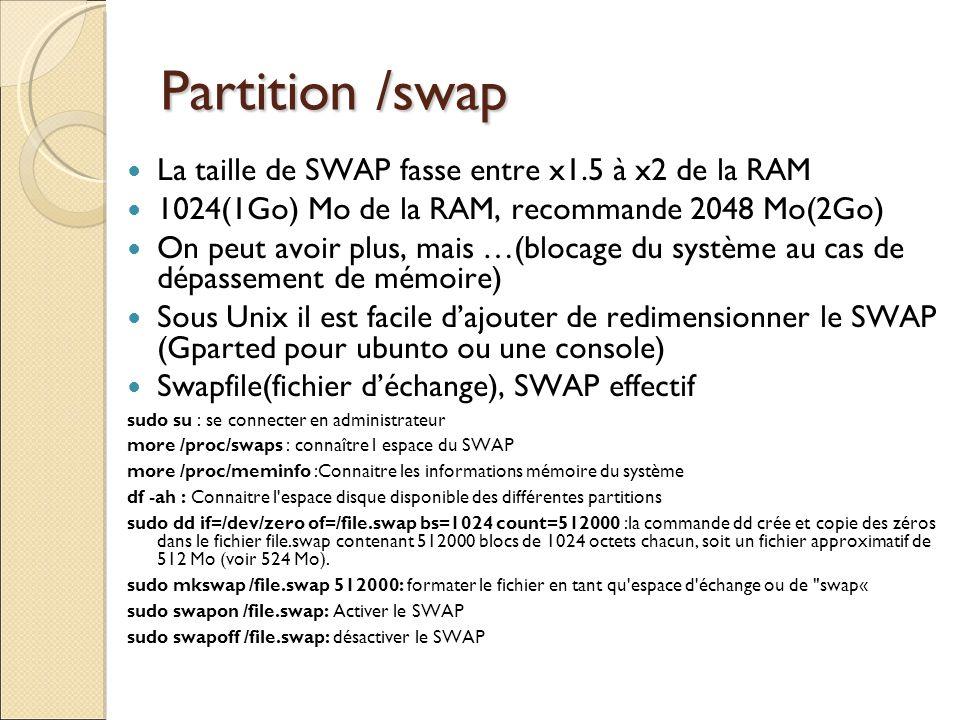 Partition /swap La taille de SWAP fasse entre x1.5 à x2 de la RAM