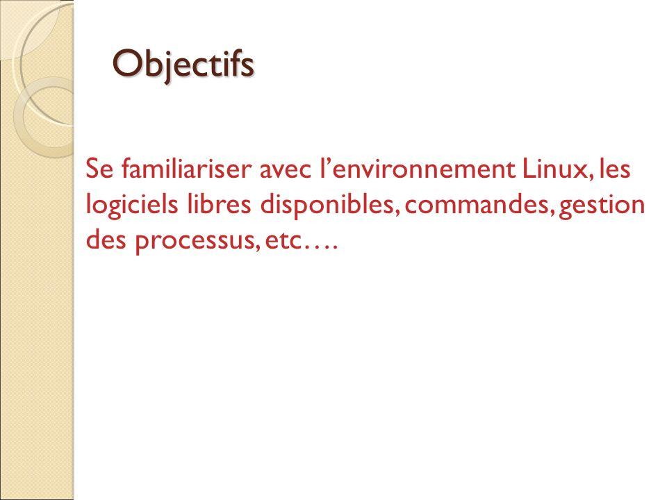 Objectifs Se familiariser avec l'environnement Linux, les logiciels libres disponibles, commandes, gestion des processus, etc….