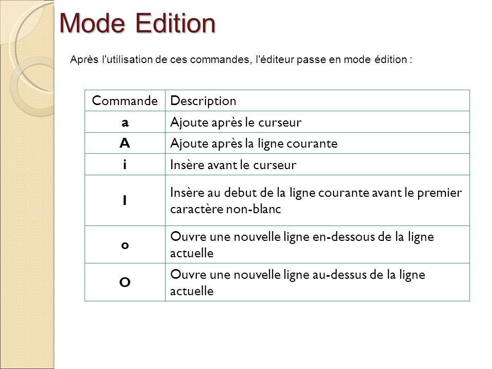 Mode Edition Commande Description a Ajoute après le curseur A