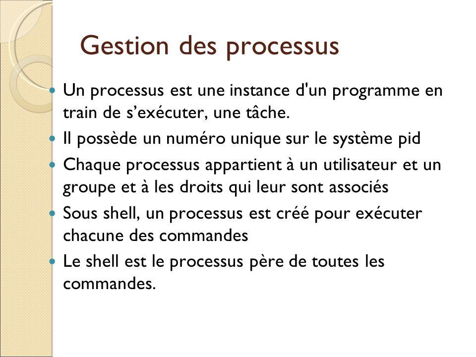 Gestion des processus Un processus est une instance d un programme en train de s'exécuter, une tâche.