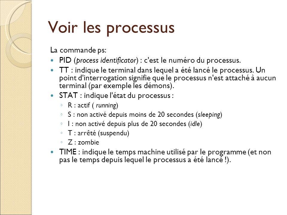 Voir les processus La commande ps: