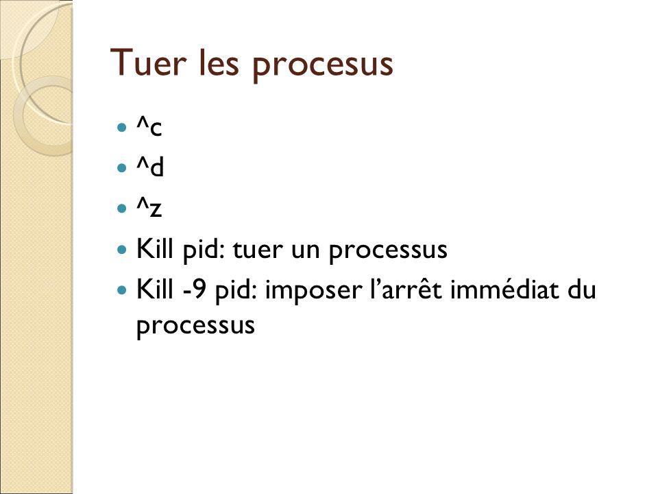 Tuer les procesus ^c ^d ^z Kill pid: tuer un processus