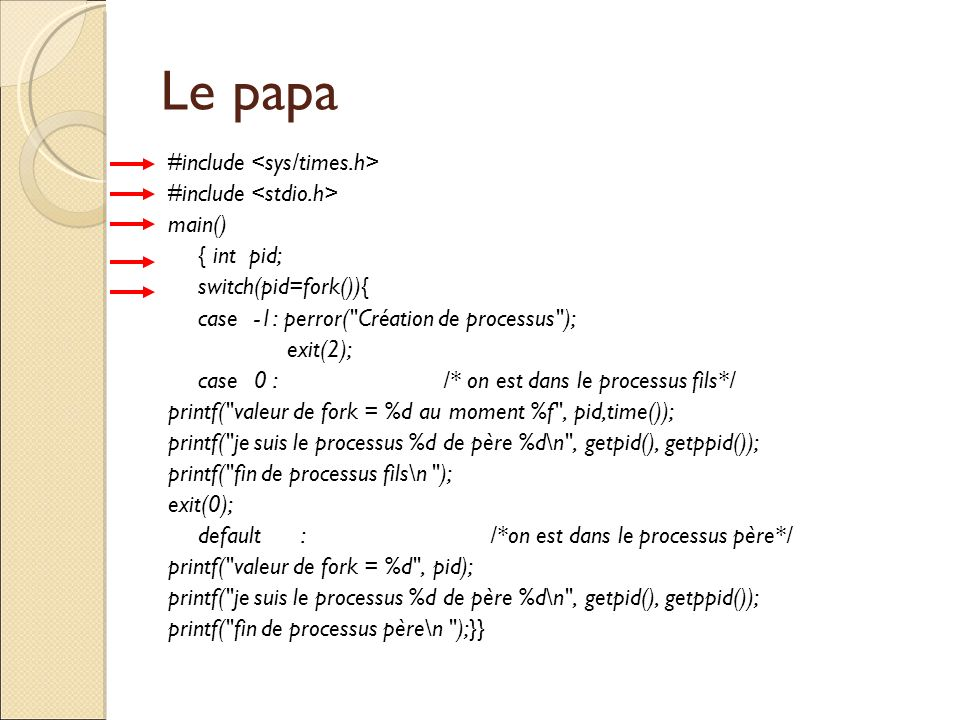 Le papa #include <sys/times.h> #include <stdio.h> main()‏