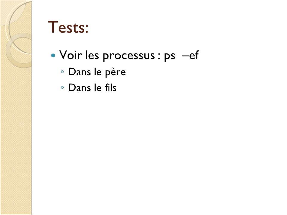 Tests: Voir les processus : ps –ef Dans le père Dans le fils