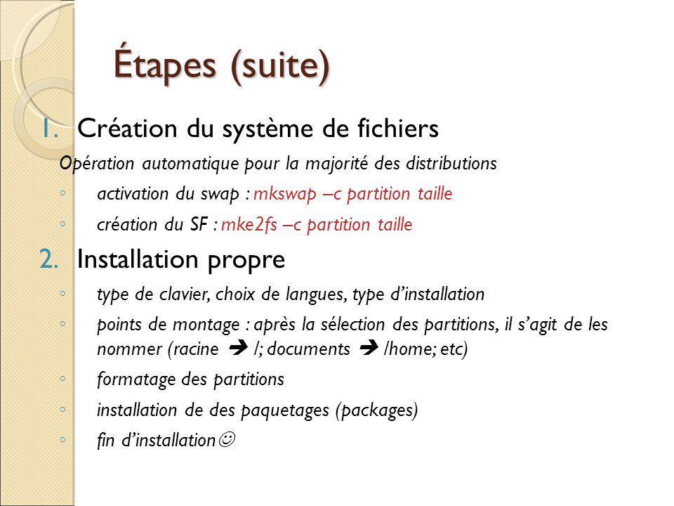 Étapes (suite) Création du système de fichiers Installation propre
