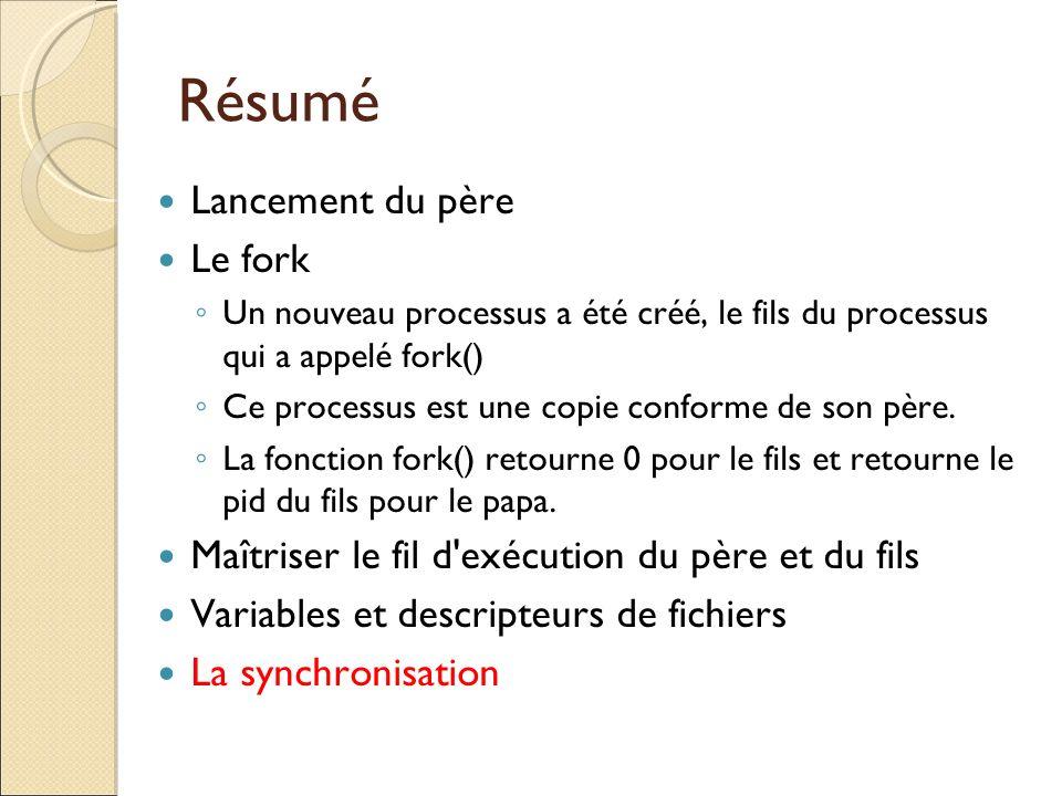 Résumé Lancement du père Le fork