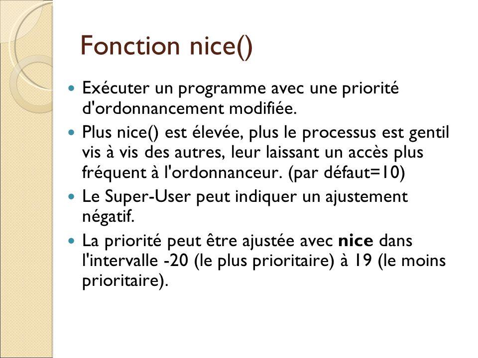 Fonction nice() Exécuter un programme avec une priorité d ordonnancement modifiée.