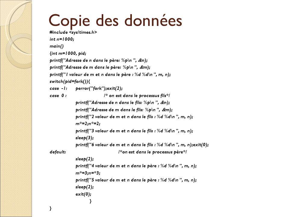 Copie des données #include <sys/times.h> int n=1000; main()