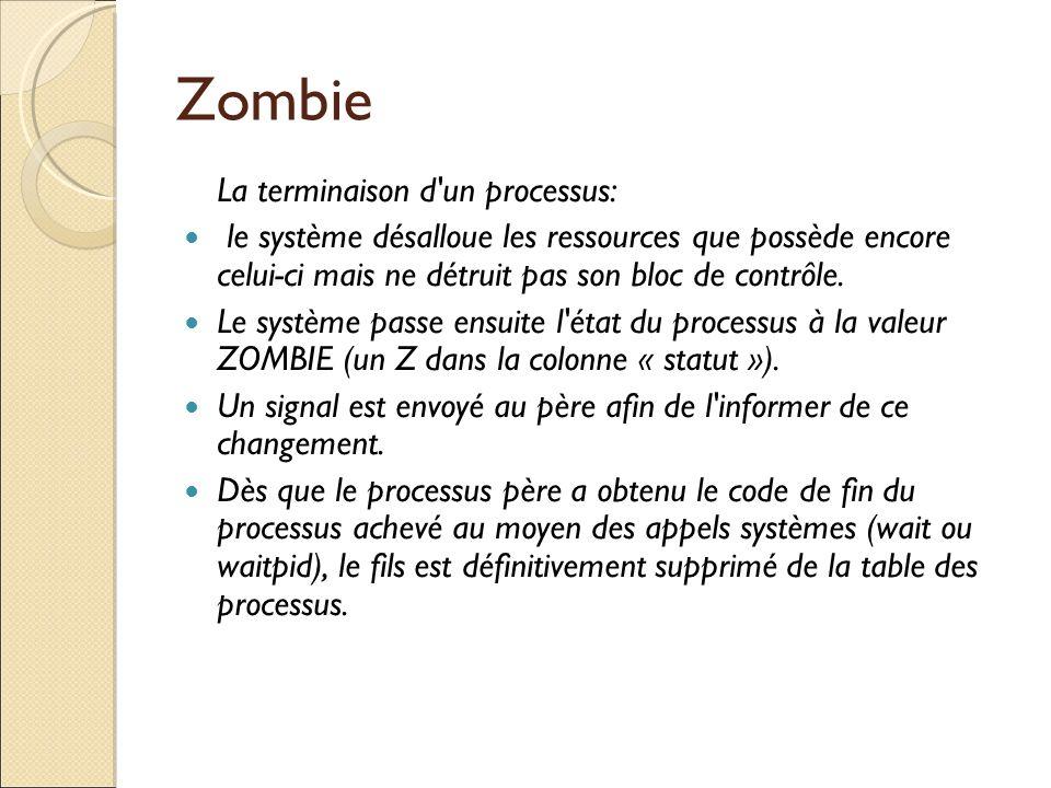 Zombie La terminaison d un processus: