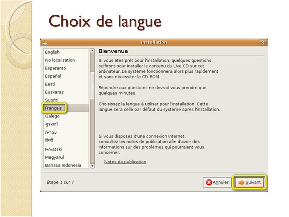 Choix de langue