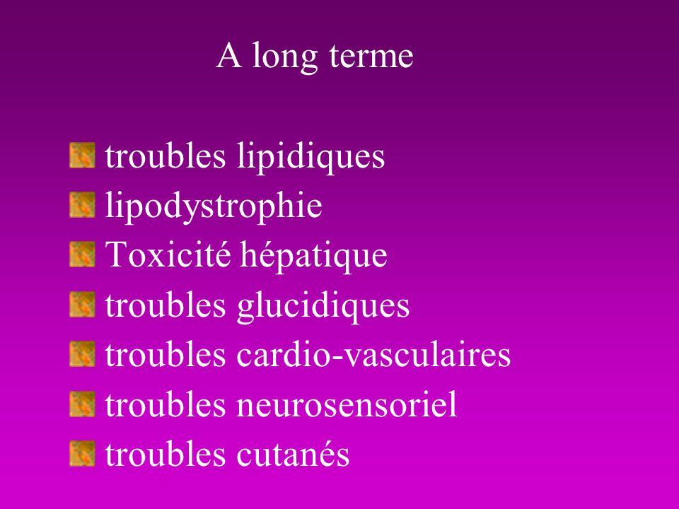 A long terme troubles lipidiques lipodystrophie Toxicité hépatique
